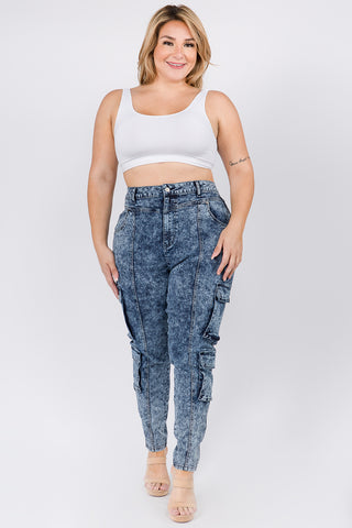 PLUS SIZE HIGH WAIST SKINNY JEANS WITH CARGO POCKETS