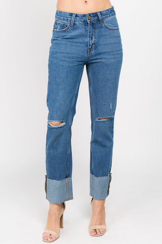 HIGH RISE KNEE SLIT BOYFRIEND JEANS -Wholesale Americanbazi