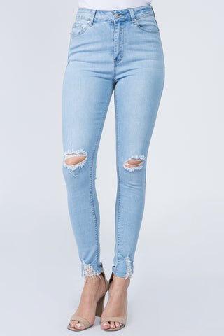 PLUS SIZE HIGH RISE SKINNY JEANS WITH DISTORTIONS
