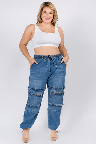 PLUS SIZE HIGH WAIST DENIM JOGGERS WITH UTILITY POCKET