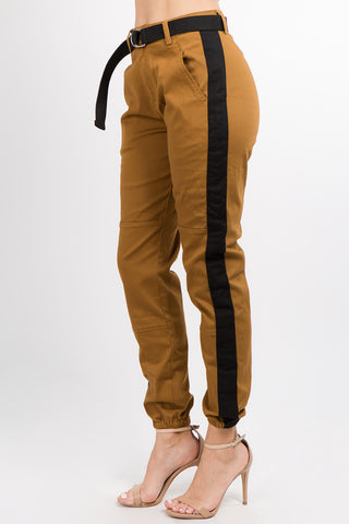 SIDE STRIPE HIGH RISE TWILL JOGGER WITH BELT -Wholesale Americanbazi