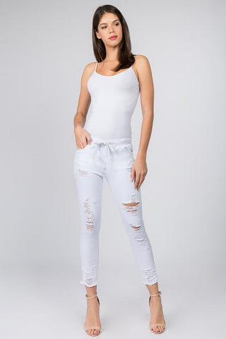 SKINNY JOGGER WITH DISTORTION & FRAYED HEM