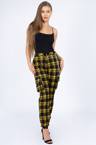 PLUS SIZE PLAID HIGH WAIST JOGGERS WITH CHAIN