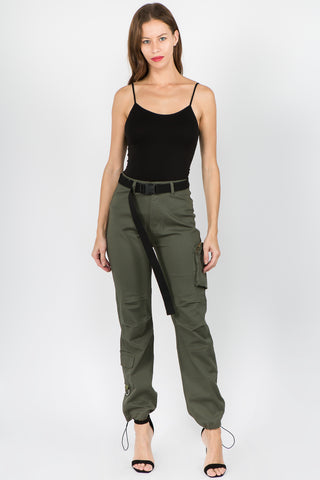 PLUS SIZE HIGH WAIST UTILITY POCKET JOGGERS