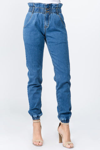 PLUS SIZE PAPER BAG HIGH WAIST DENIM JOGGER