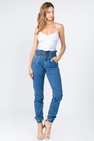 PAPER BAG HIGH WAIST DENIM JOGGER