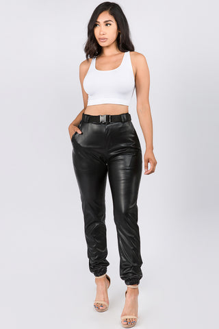 HIGH WAIST FAUX LEATHER JOGGERS WITH BELT