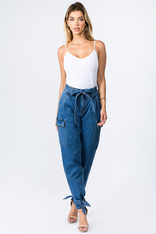 PLUS SIZE DENIM JOGGERS WITH TIES