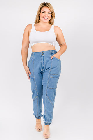 PLUS SIZE HIGH WAIST BANDED DENIM JOGGERS