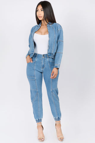 HIGH WAIST BANDED DENIM JOGGERS