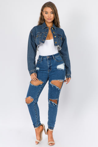 PLUS SIZE HIGH WAIST DENIM CUT-OUT TRIM JOGGERS