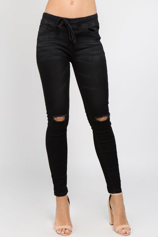BLACK SKINNY DENIM JOGGER WITH SLIT ON THE KNEES -Wholesale Americanbazi