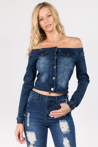 OFF SHOULDER DENIM JACKET -Wholesale Americanbazi