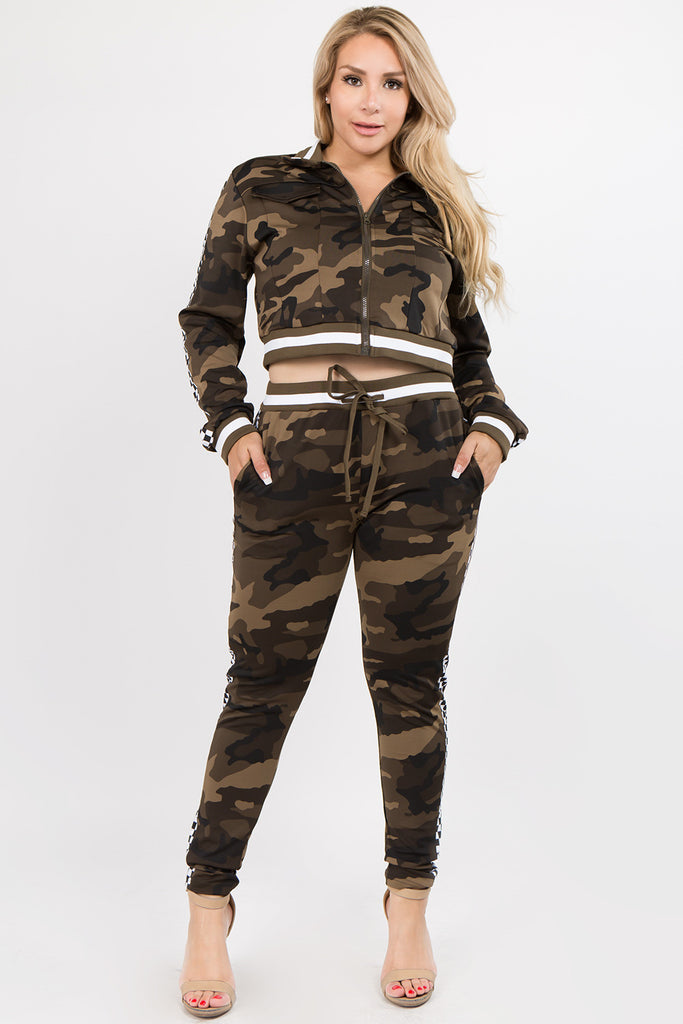 CAMO PLUS SIZE SPEED RACE SIDE CHEKER PRINTED JACKET & JOGEER SET ...
