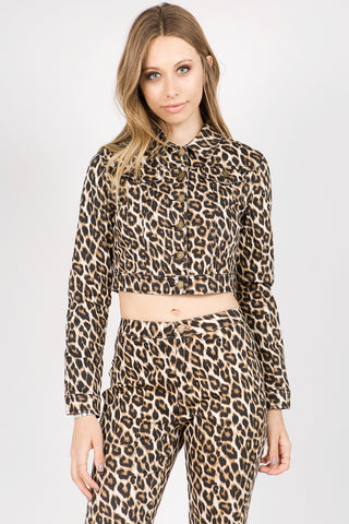 PLUS SIZE LEOPARD PRINTED TWILL JACKET (4COLORS)