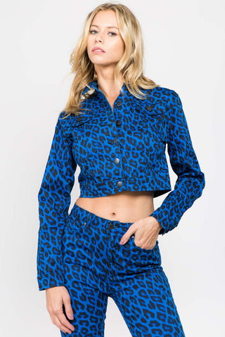COLOR LEOPARD PRINTED TWILL JACKET (4COLORS)