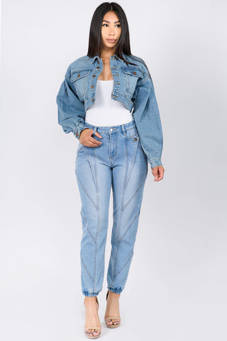 BALLOON SLEEVE SHORT LENGTH DENIM JACKET