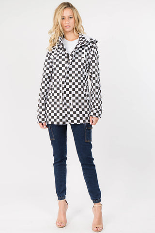 COLOR CHECKER PRINTED HOODY JACKET(3 COLORS) -Wholesale Americanbazi