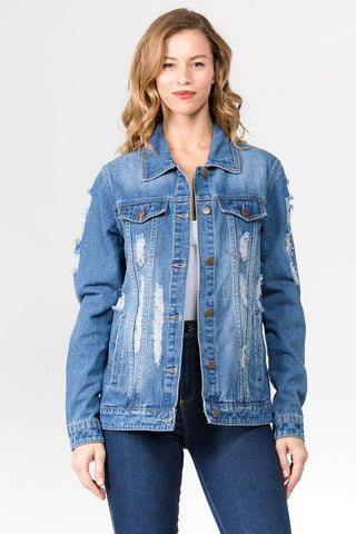 DISTRESSED COLOR DENIM JACKET
