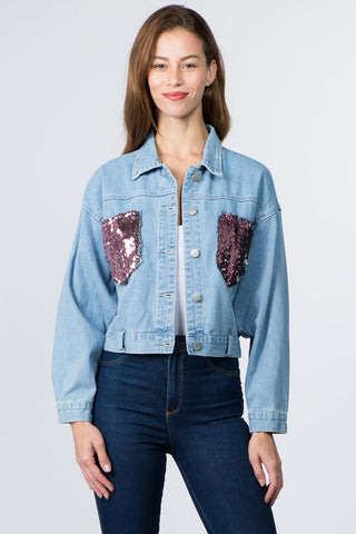 PLUS SIZE DENIM JACKET WITH SEQUIN PATCH -Wholesale Americanbazi