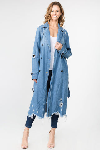 PLUS SIZE DENIM TRENCH COAT LONG JACKET