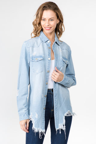 DISTRESSED DENIM SHIRTS -Wholesale Americanbazi