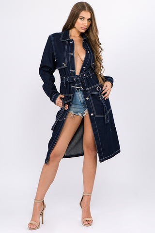 DENIM TRENCH COAT JACKET