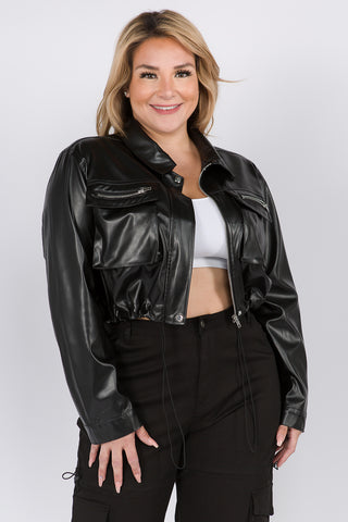 PLUS SIZE FAUX LEATHER CROPPED LENGTH JACKET