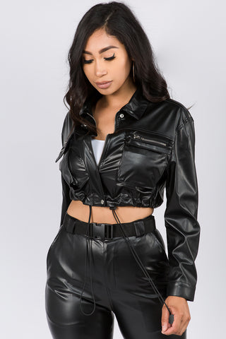 FAUX LEATHER CROPPED LENGTH JACKET