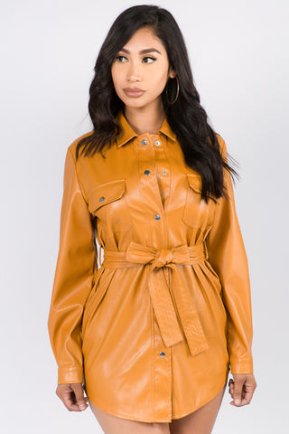 FAUX LEATHER SHIRT JACKET WITH WAIST BAND