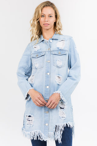 PLUS SIZE DENIM LONG JACKET WITH DISTORTIONS