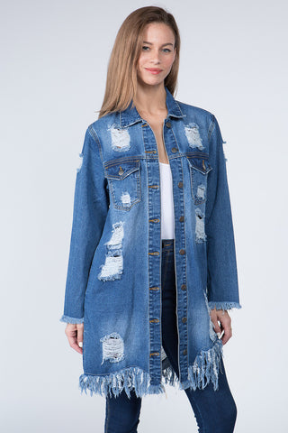 DENIM LONG JACKET WITH DISTORTIONS -Wholesale Americanbazi