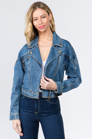 PLUS SIZE MOTO BIKER DENIM JACKET