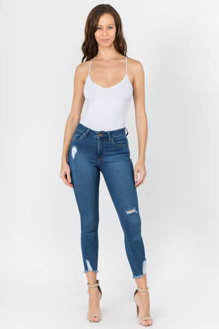 PREMIUM MID RISE DISTRESSED SKINNY JEANS (A PACK)