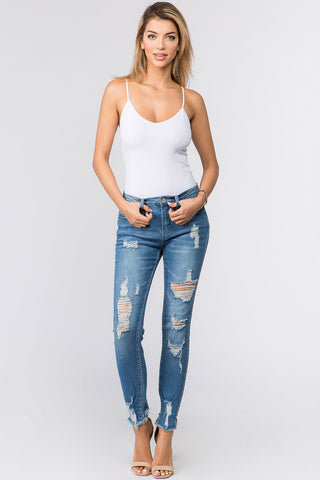 PLUS SIZE MID WAIST DISTRESSED DENIM JEANS