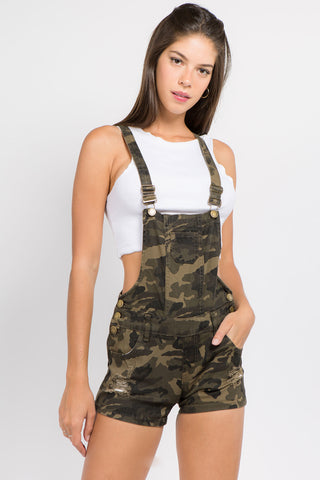 DESTROYED MINI SHORT DENIM OVERALL -Wholesale Americanbazi