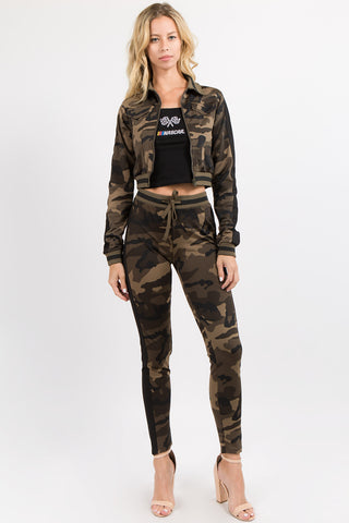 PLUS SIZE COLOR CAMO PRINTED TRACK JACKET -Wholesale Americanbazi