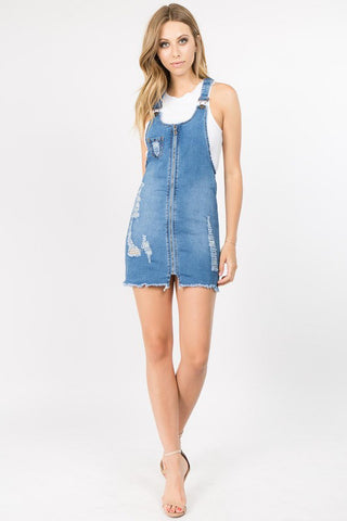 PLUS SIZE DISTRESSED DENIM OVERALL SKIRTS