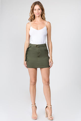 PLUS SIZE CARGO SKIRTS WITH BELT AND POCKETS