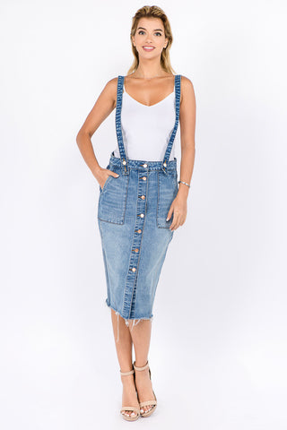 DENIM SKIRTS WITH SHOULDER STRAP -Wholesale Americanbazi