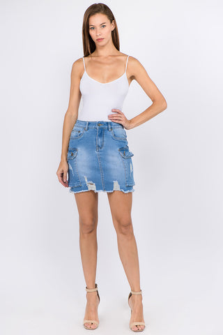 PLUS SIZE DENIM DISTRESSED SKIRTS WITH CARGO POCKETS