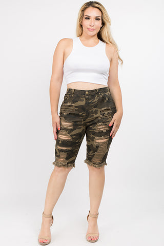PLUS SIZE DENIM BERMUDA SHORTS WITH DISTORTIONS