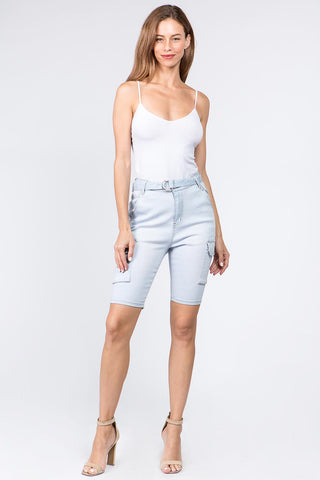 PLUS SIZE HIGH WAIST DENIM BERMUDA SHORTS