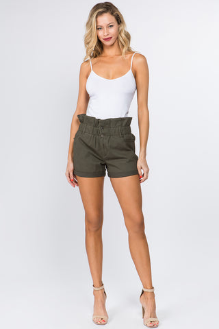 PLUS SIZE PAPERBAG WAIST SHORTS WITH BUTTON
