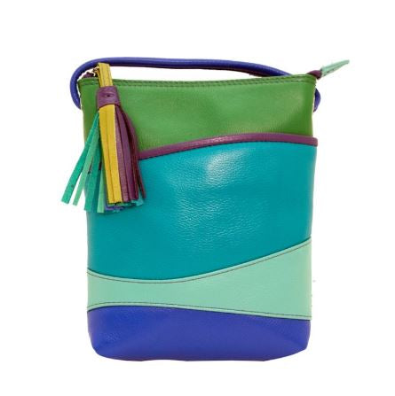 Leather mini sac with wave detail. Adjustable strap which can be knotted and shortened to any length. Exterior- front slide pocket and back zip pocket. Interior- zip pocket. Dimensions: 6 x 7.5 x 1.25 in.
