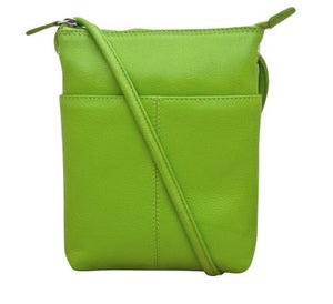 Leaf Green Leather mini sac. Adjustable strap which can be knotted and shortened to any length. Exterior- front slide pocket and back zip pocket. Interior- zip pocket.