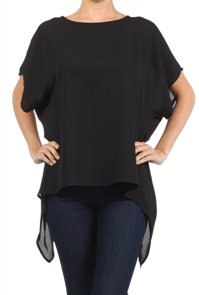 1801 Black  Hi-Lo Asymmetric Top One Size