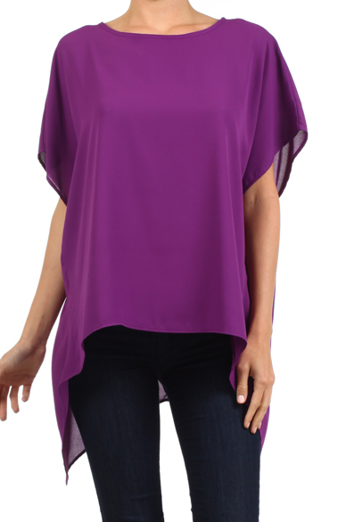 Purple  Hi-Lo Asymmetric Top One Size