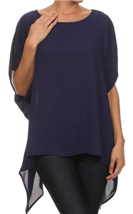 Navy  Hi-Lo Asymmetric Top One Size