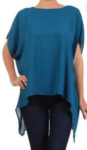 Teal Hi-Lo Asymmetric Top One Size